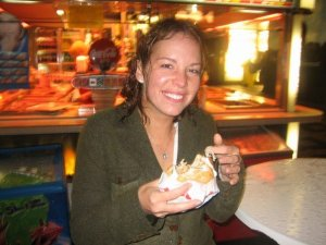 """Rain drenched, discovering fried cheese """"street meat"""" in Prague - mind BLOWN."""